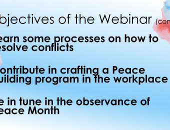 Conflict Resolution and Peace Building Webinar